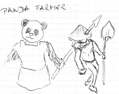 Panda Farmer, nakreslený na kus papíru u kafe.