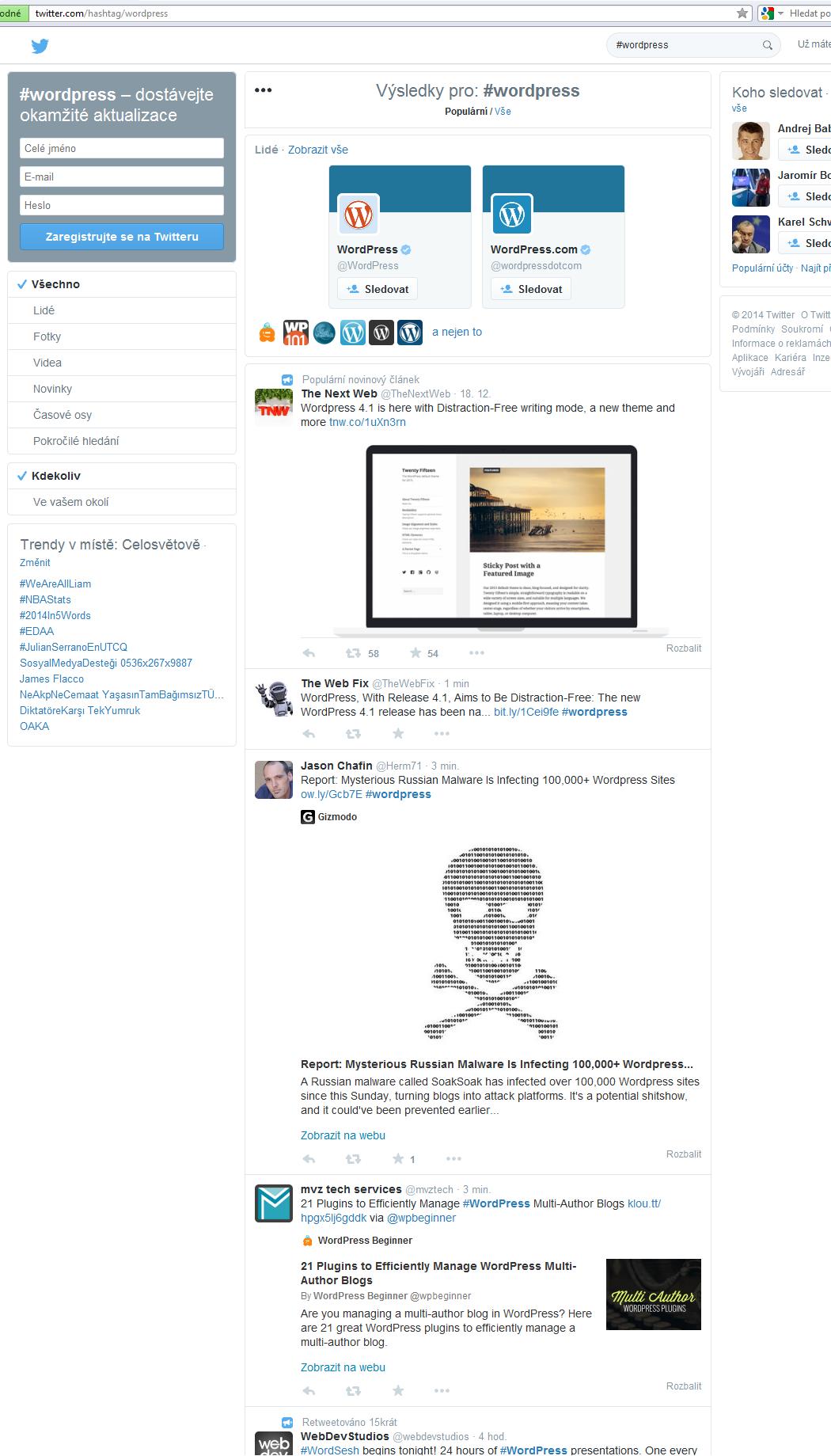 Ukázka stránky s hashtag #WordPress kterou uvidí nepřihlášený uživatel.