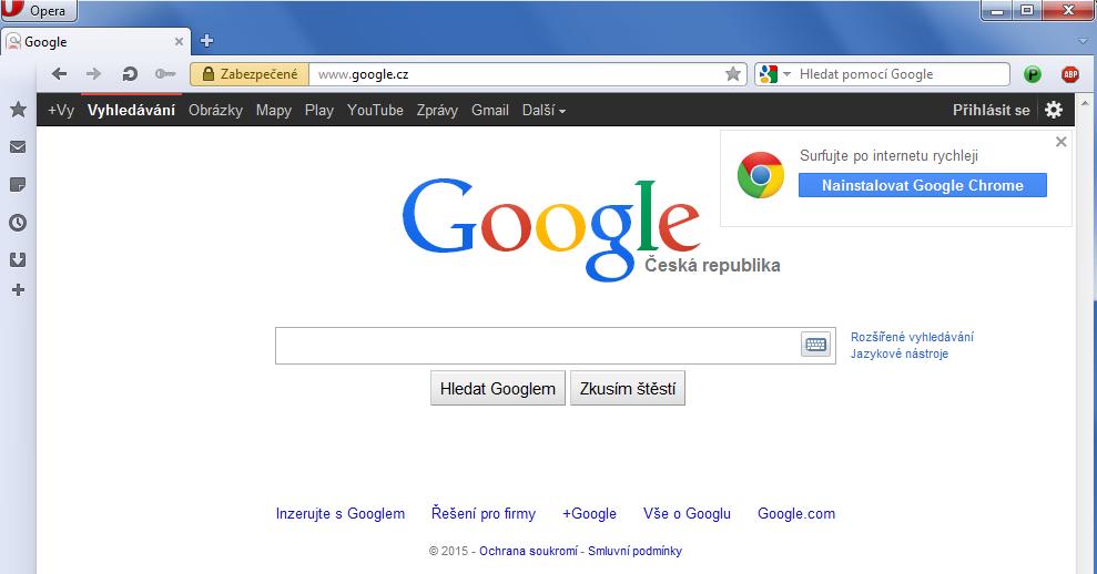 Google nabízí vyšší rychlost s jeho prohlížečem Chrome.