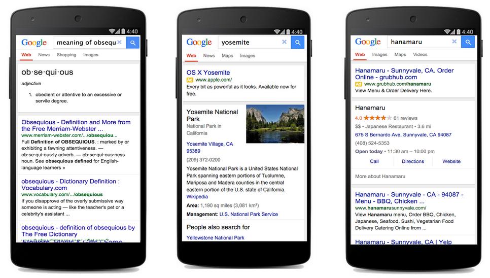 Ukázka speciální verze vyhledávání Google pro pomalý internet.