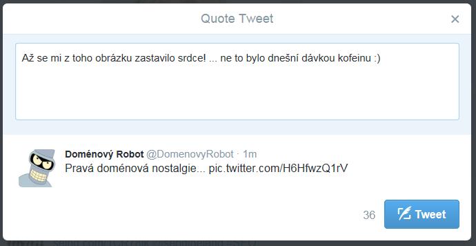 Nová možnost retweet umožňuje přidat 116 vlastních znaků a efektivně se přiživit na nápadu někoho jiného :)