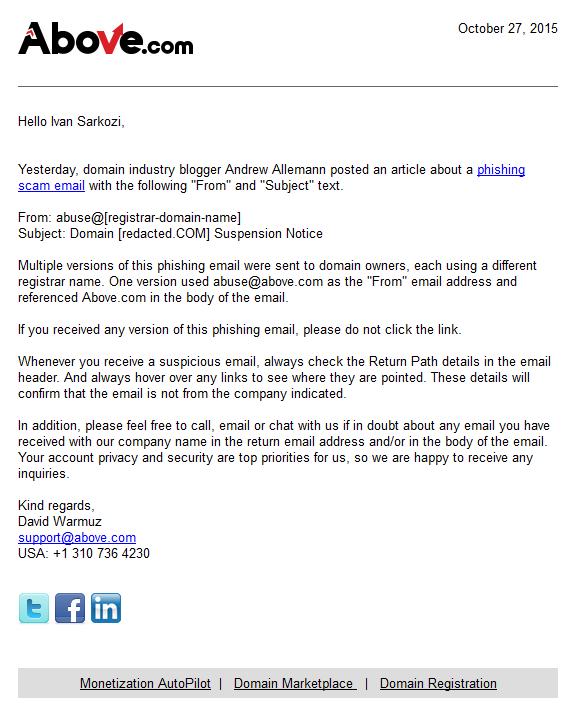 Email, který hromadně rozeslal Above.com, aby upozornil na podvodné emaily.