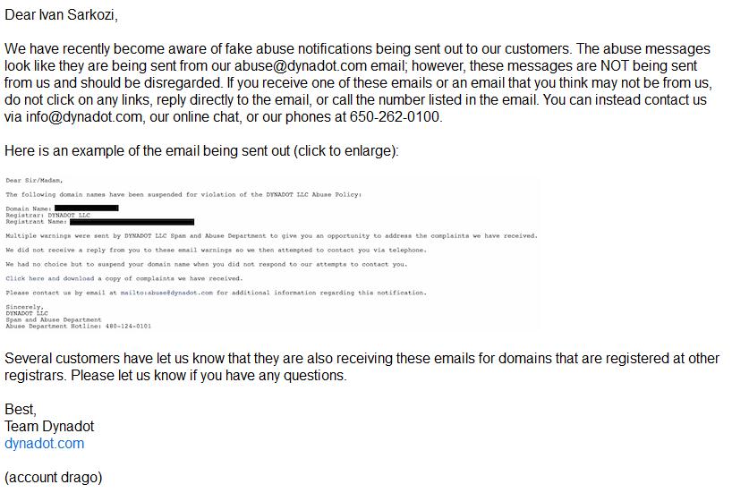 Varování od Dynadot obsahuje i ukázka podvodného emailu.