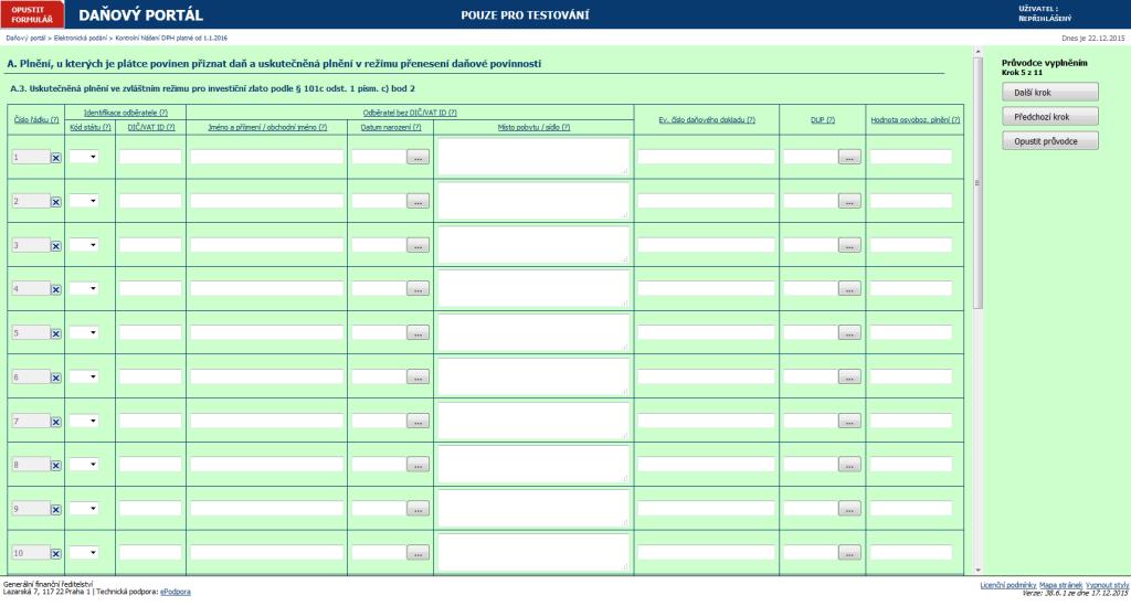 Daňový portál - Elektronické podání - Kontrolní hlášení DPH platné od 1.1.2016 - oddíl A.3. 2015-12-22 13-19-28