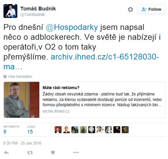 Pro dnešní @Hospodarky jsem napsal něco o adblockerech. Ve světě je nabízejí i operátoři,v O2 o tom taky přemýšlíme. http://archiv.ihned.cz/c1-65128030-mate-radi-reklamu …